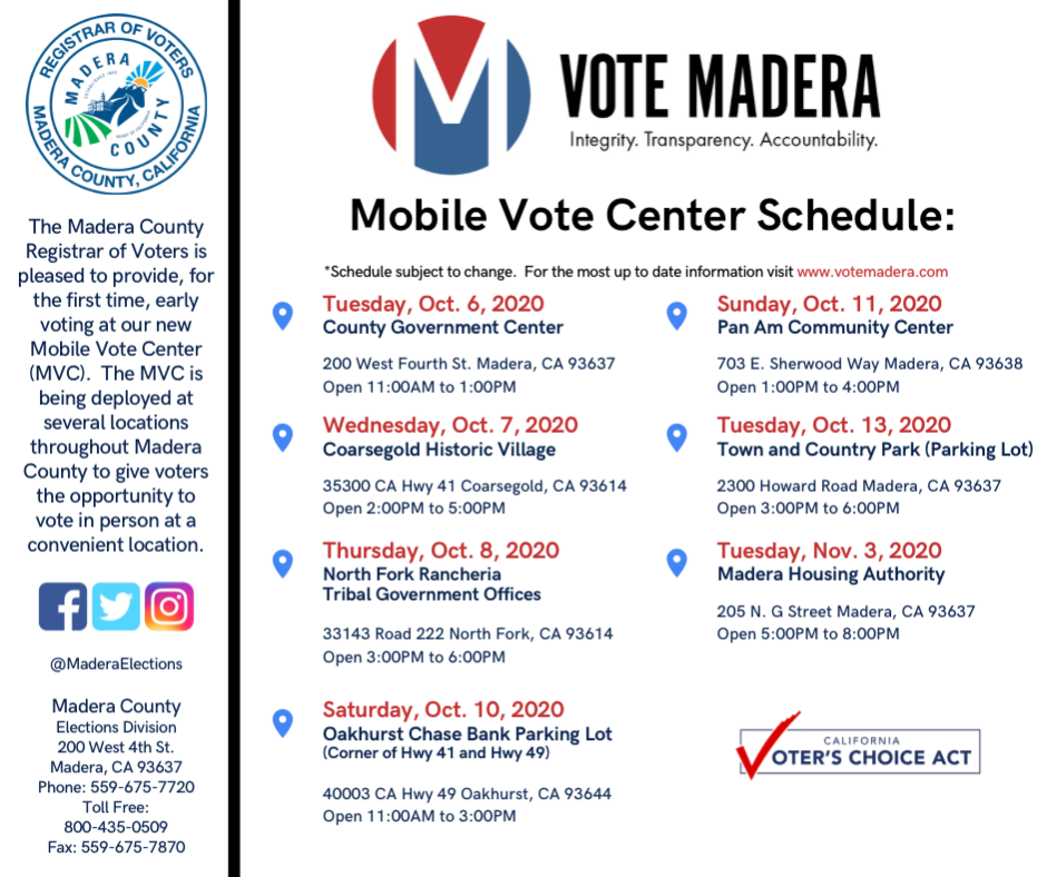 Mobile Vote Center Schedule